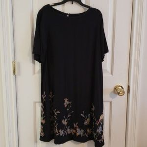 Loft Navy Swing Dress with Embroidery at bottom